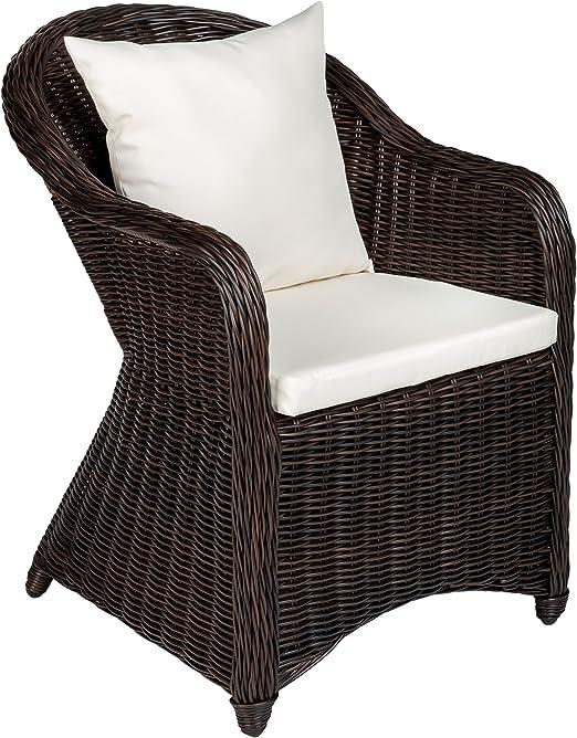TecTake Aluminio Silla de jardín sillón Sofa de Mimbre poliratán terraza con cojín de Asiento y cojín del Respaldo (marrón Mixed | no. 401975): Amazon.es: Jardín