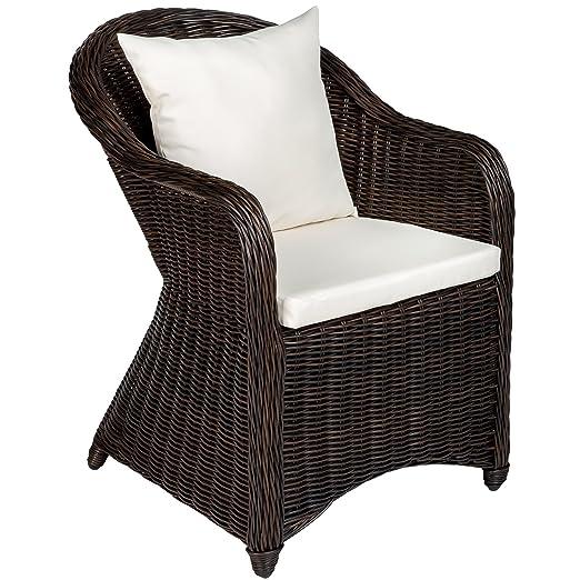 TecTake Aluminio Silla de jardín sillón Sofa de Mimbre poliratán terraza con cojín de Asiento y cojín del Respaldo (marrón Mixed | no. 401975)