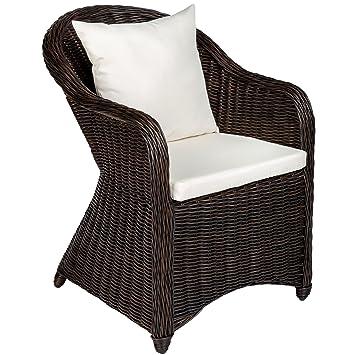 TecTake Aluminio silla de jardín sillón sofa de mimbre poliratán terraza con cojín de asiento y cojín del respaldo - disponible en diferentes colores ...