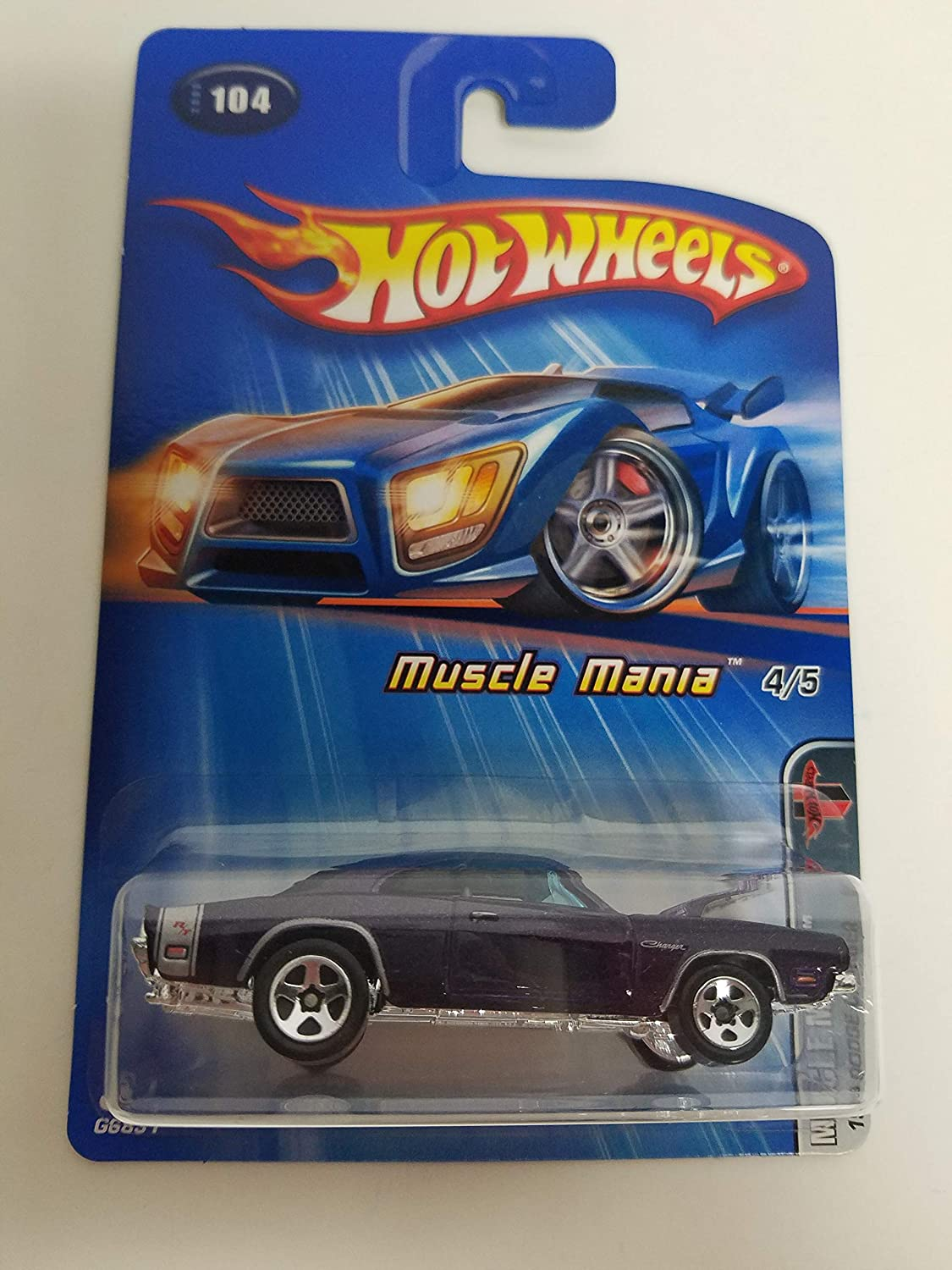 1969 Dodge Charger Purple Color Muscle Mania 4 of 5 2005 Editions Hot Wheels diecast car No. 104