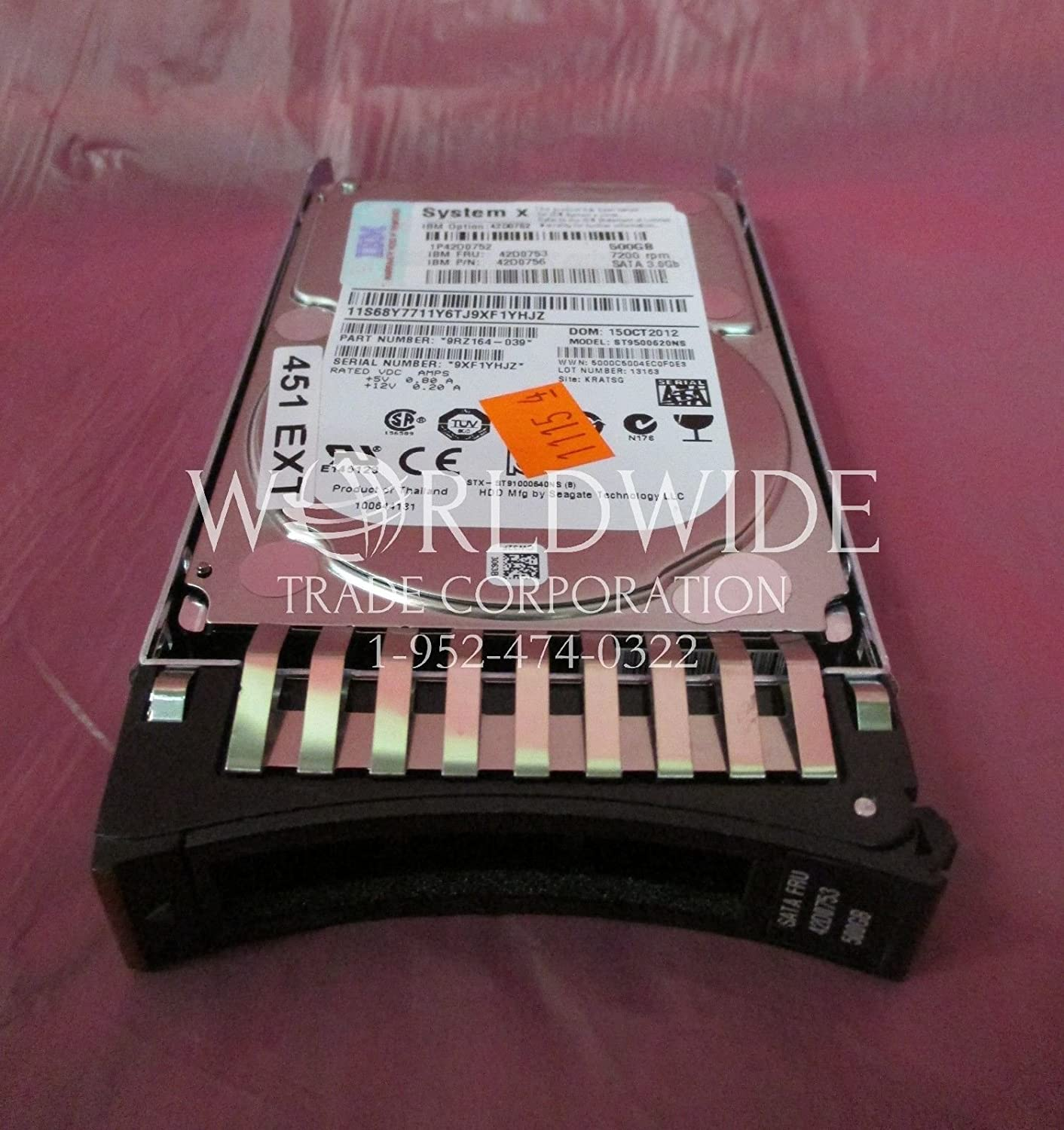 "IBM 42D0753 42D0756 42D0752 500GB 7200RPM SATA 2.5/"" 3GB H//S HDD Drive w// Tray"