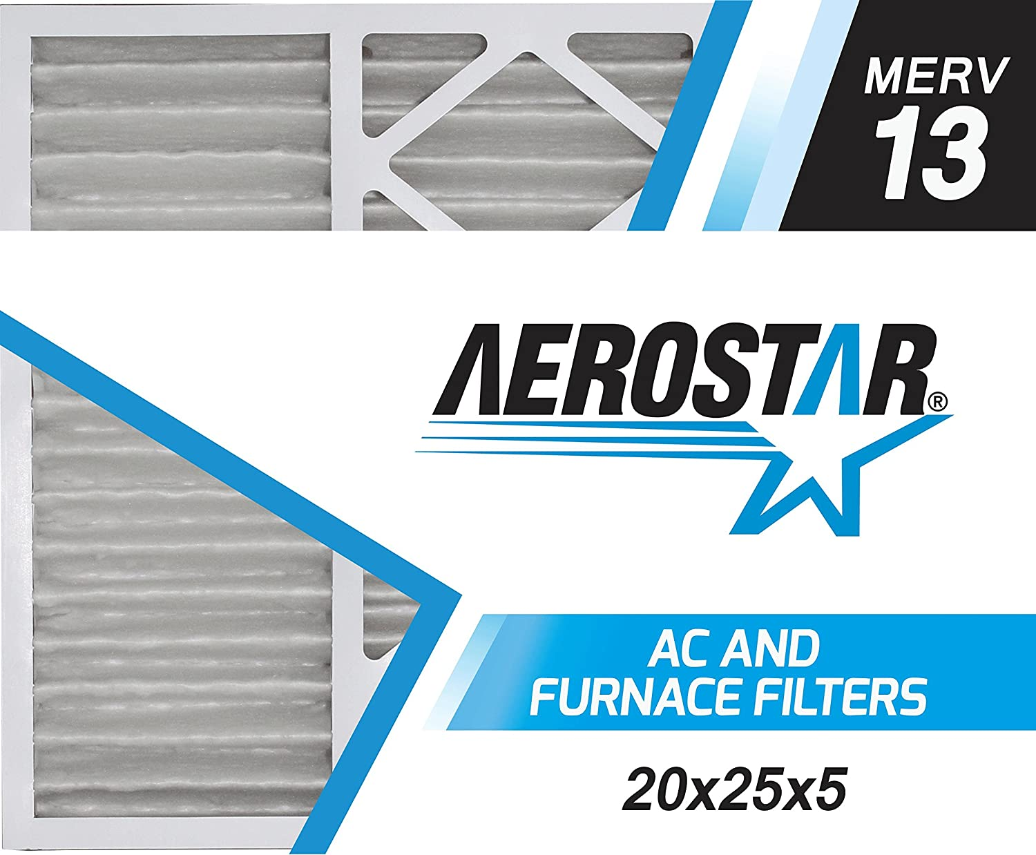 Aerostar 20x25x5 MERV 13 Honeywell Replacement Pleated Air Filter Environmental Air Made in the USA 2-Pack Filtration Group
