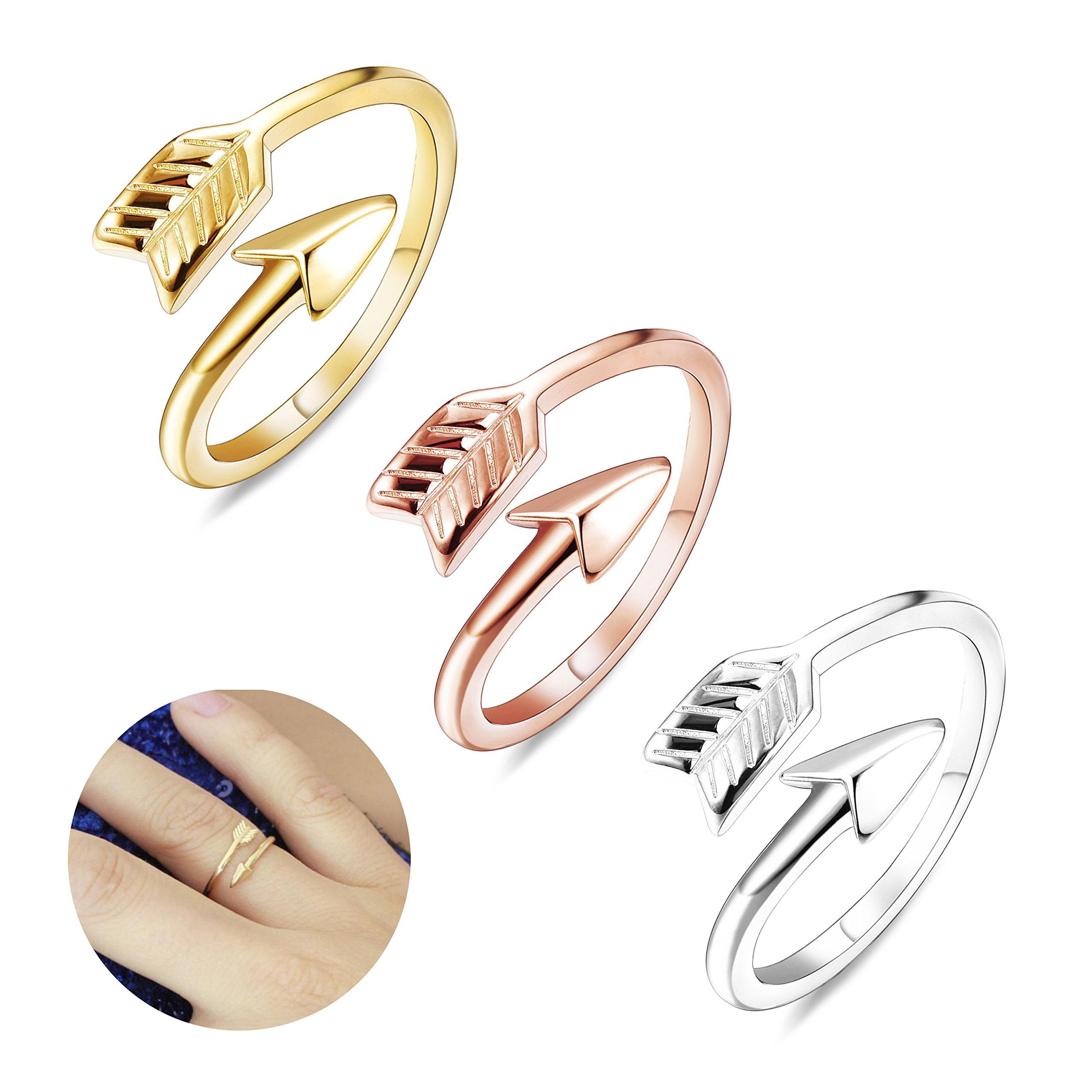 Finrezio 3 PCS Adjustable Open Arrow Rings for Women Stackable Knuckle Ring Wedding Gift