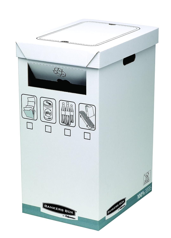 1 Pezzo FSC Bankers Box 0193201 Cestino in Cartone per Riciclo System Bianco//Grigio