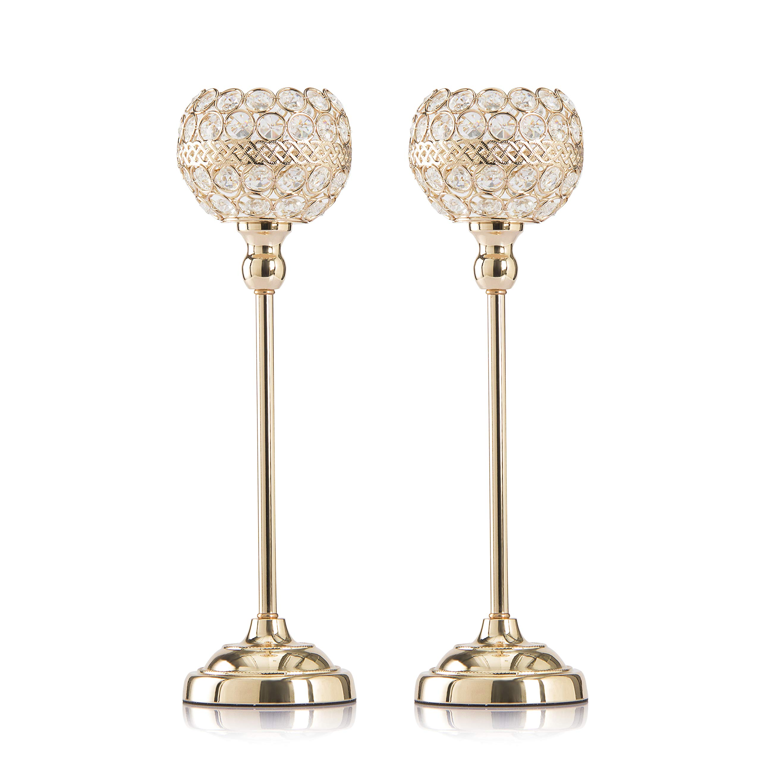 Skyera [Newest 2019] Gold Crystal Candle Holders, Dining Table Candlelight Home Decoration Gifts for Valentines Day/Wedding/Thanksgiving/Birthday/Housewarming (2 Pack) (15 inch)