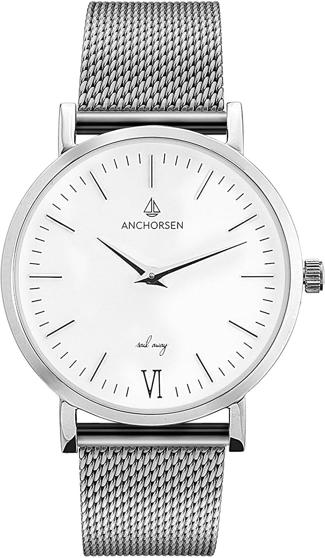 ANCHORSEN Little Journey Maritime Damen-Armbanduhr - Farbe Silber - Schweizer Uhrwerk - Weißes Ziffernblatt - Silbernes