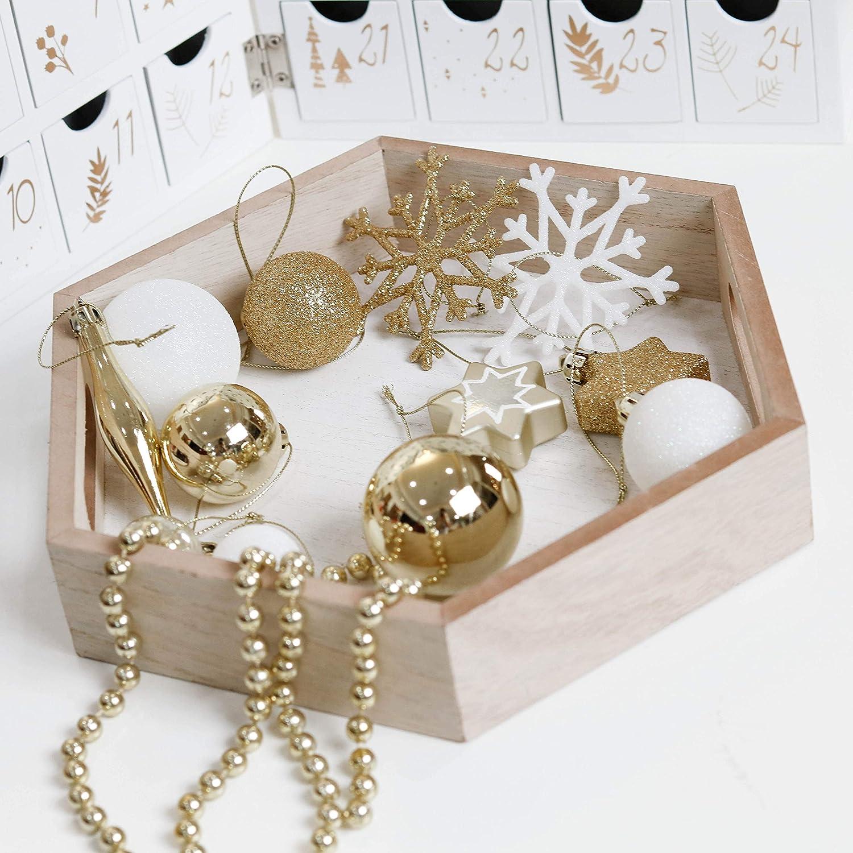 Adornos de Navidad para Arbol Decoraci/ón Navide/ños Pl/ástico Blanco y Dorado Regalos de Colgantes de Navidad Valery Madelyn 52Pcs Bolas de Navidad de 3-5cm Elegante