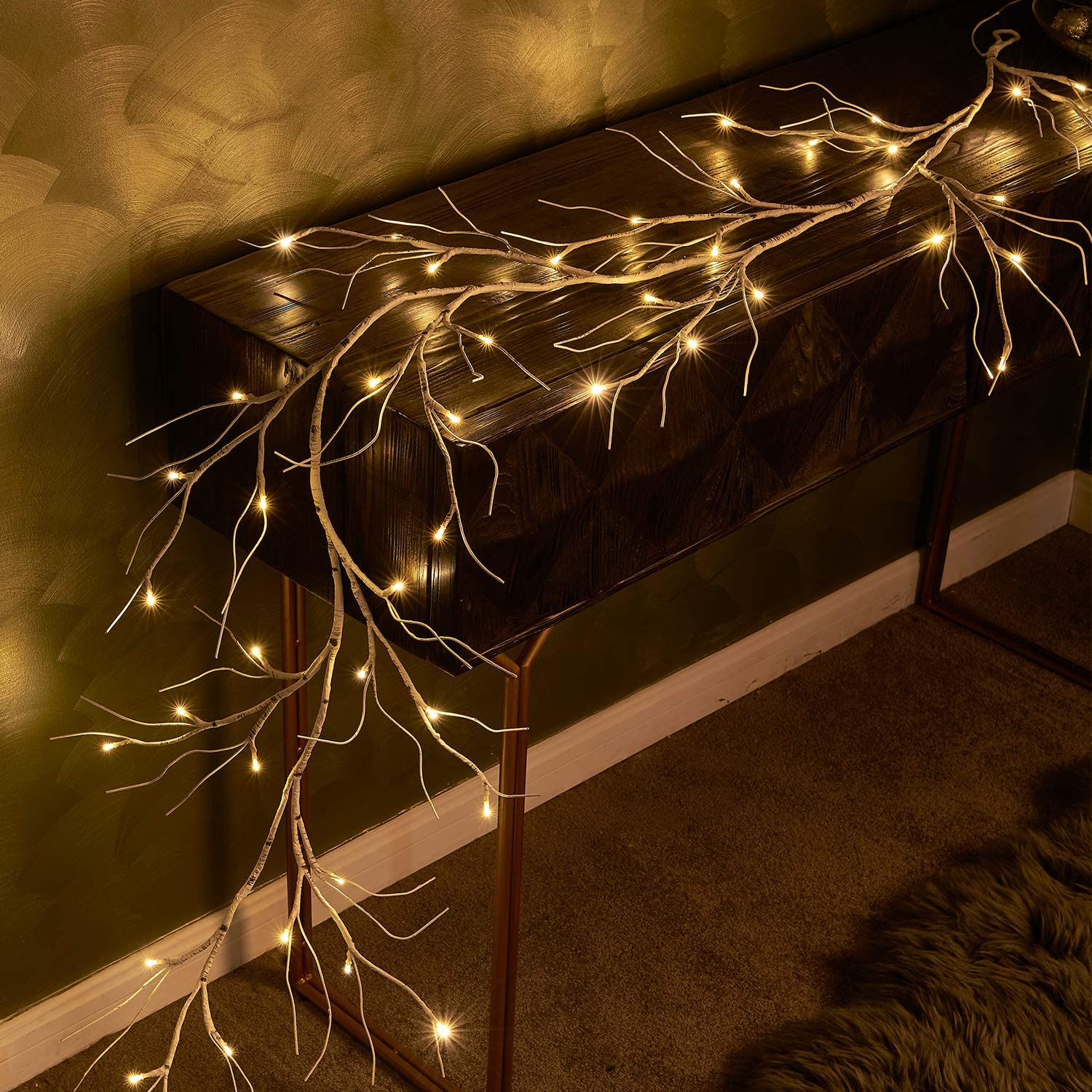 Fudios Pre-lit Twig Garland Lights Battery Operated with Timer Lighted birch Vines for Mantle Christmas all year round 6ft 48 Warm White LED