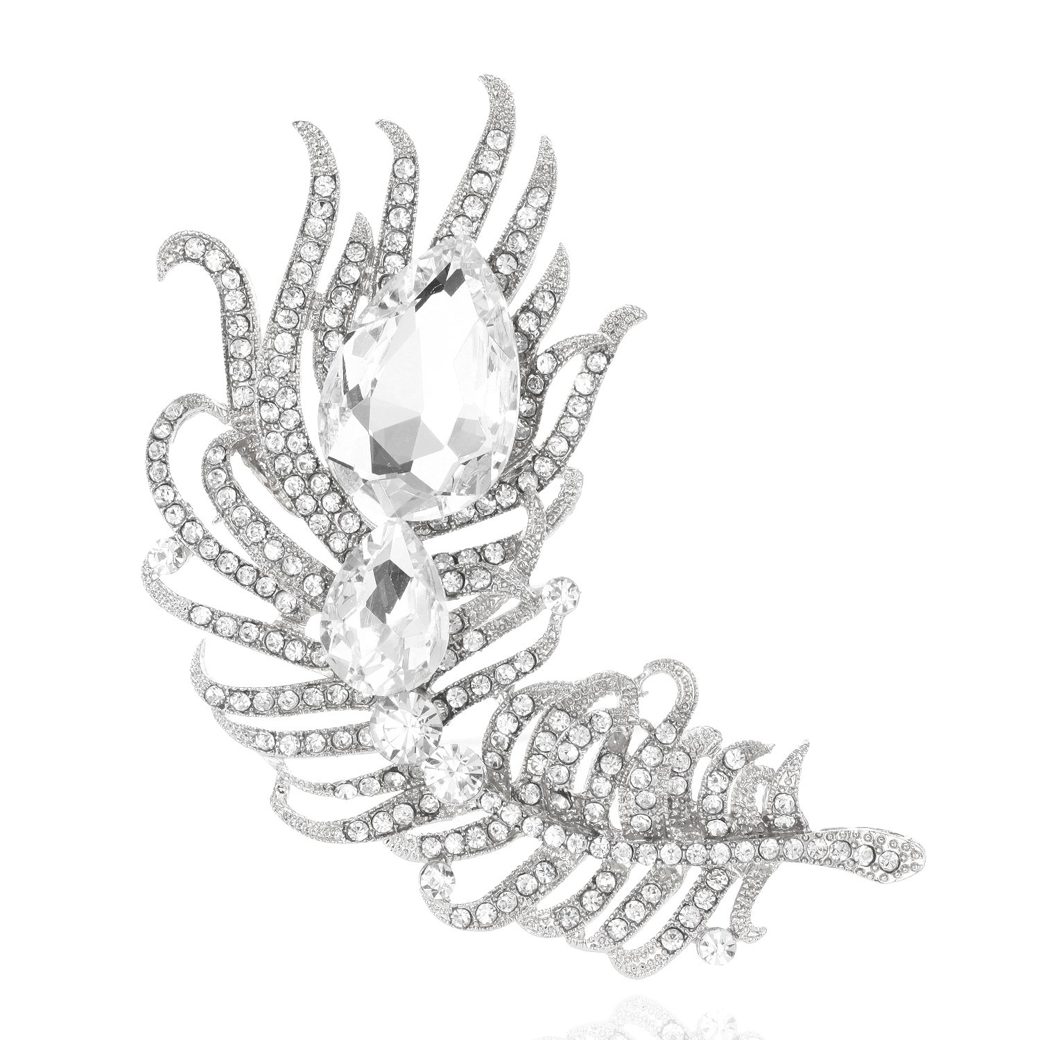 SP Sophia Collection Decorative Cubic Zirconia Rhinestone Pave Peacock Feather Fashion Dress Brooch in Clear Silver