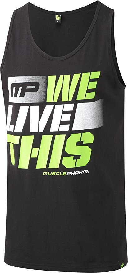 Black Small MusclePharm MPVST444 Mens Workout Premium Training Sports Fitness Gym Athleisure We Live This Logo Contrast Muscleback Vest Sports Top T-Shirt