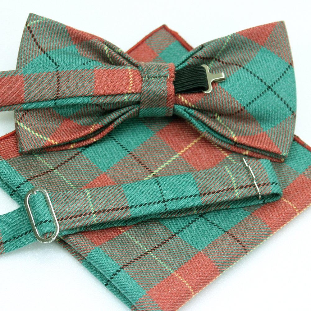 ST34 Brand New Fastion Adjustable Plaid Wool Bow tie For Men Pocket Square SET-Various Colors