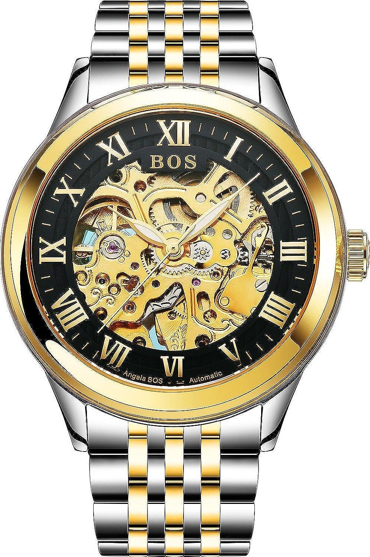 BOS Herren Automatische Uhr mit Selbstaufzug Mechanische Skeleton Gold GehÄuse Zifferblatt schwarz Edelstahl Band