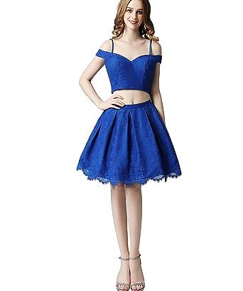 Amazon.com: FeliciaDress Royal Blue Off Shoulder Prom Dress Two ...