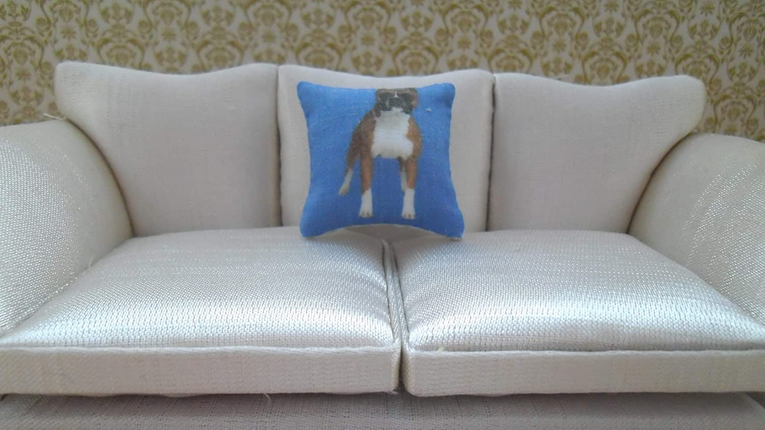 1//12th Scale Dolls House Dog Breeds Themed Blue Cushion Boxer