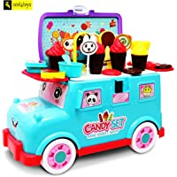 Zest 4 Toyz 2 in One 28 Pcs Portable Mini Bus Ice Cream Cart Dessert Cart , Mini Sweet Shop Play Set for Kid, Kids Early Age Development Educational Pretend Play Candy Shop Play Toy Set