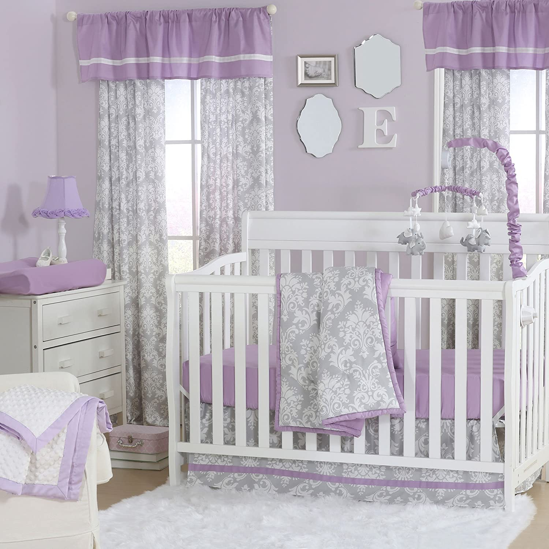 Grey Damask and Purple 3 Piece Baby Crib Bedding Set by The Peanut Shell by The Peanut Shell   B01KOO9ZF2