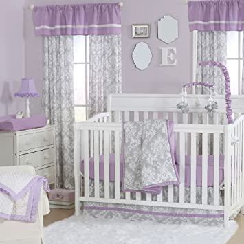 Amazon Com Grey Damask And Purple 3 Piece Baby Crib Bedding Set