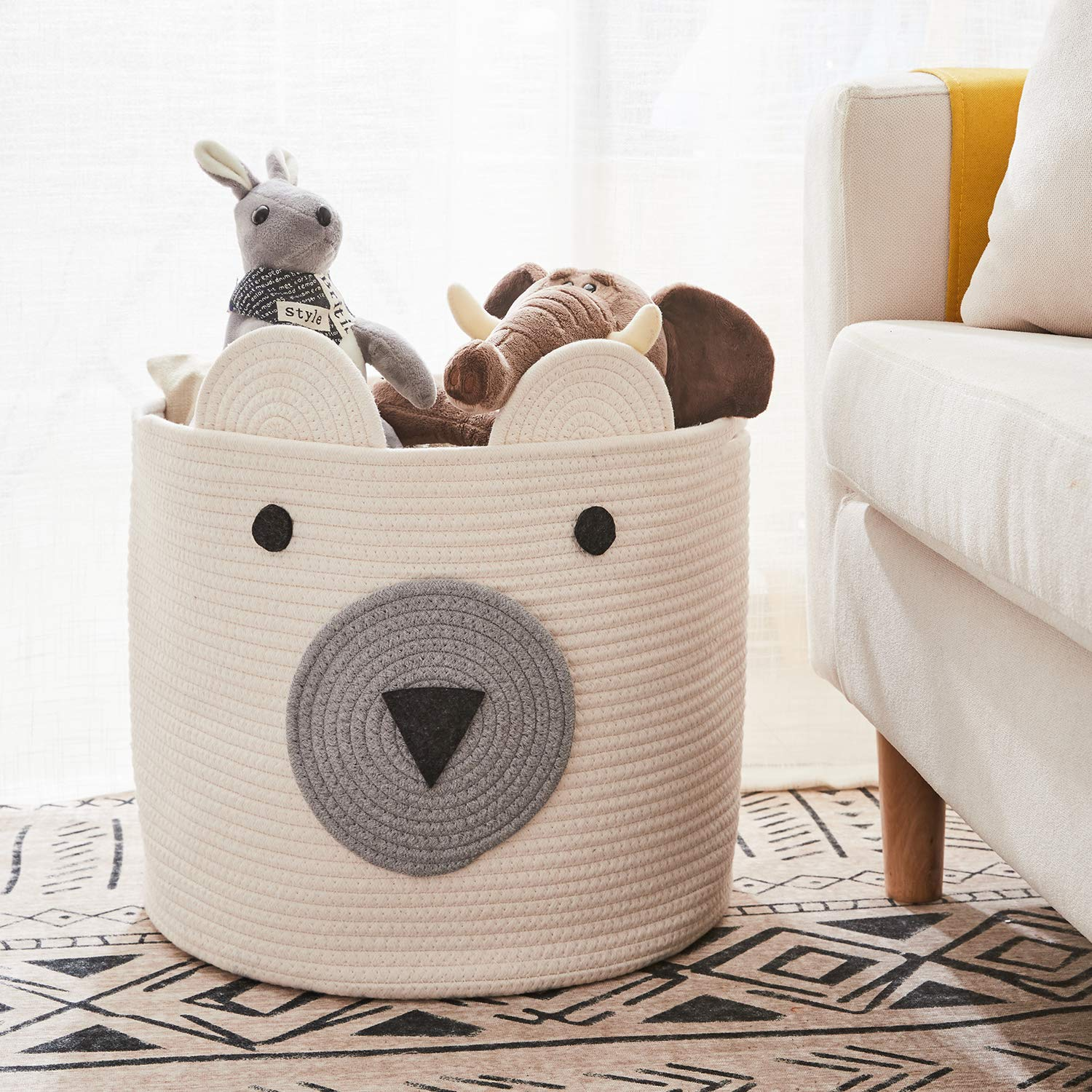Cute Storage Basket for Toys Cotton Rope Basket x 10 H D Cloths in Bedroom COMEMORY Bear Basket Nursery /& Living Room Toy Storage Bin 12 Woven Laundry Hamper