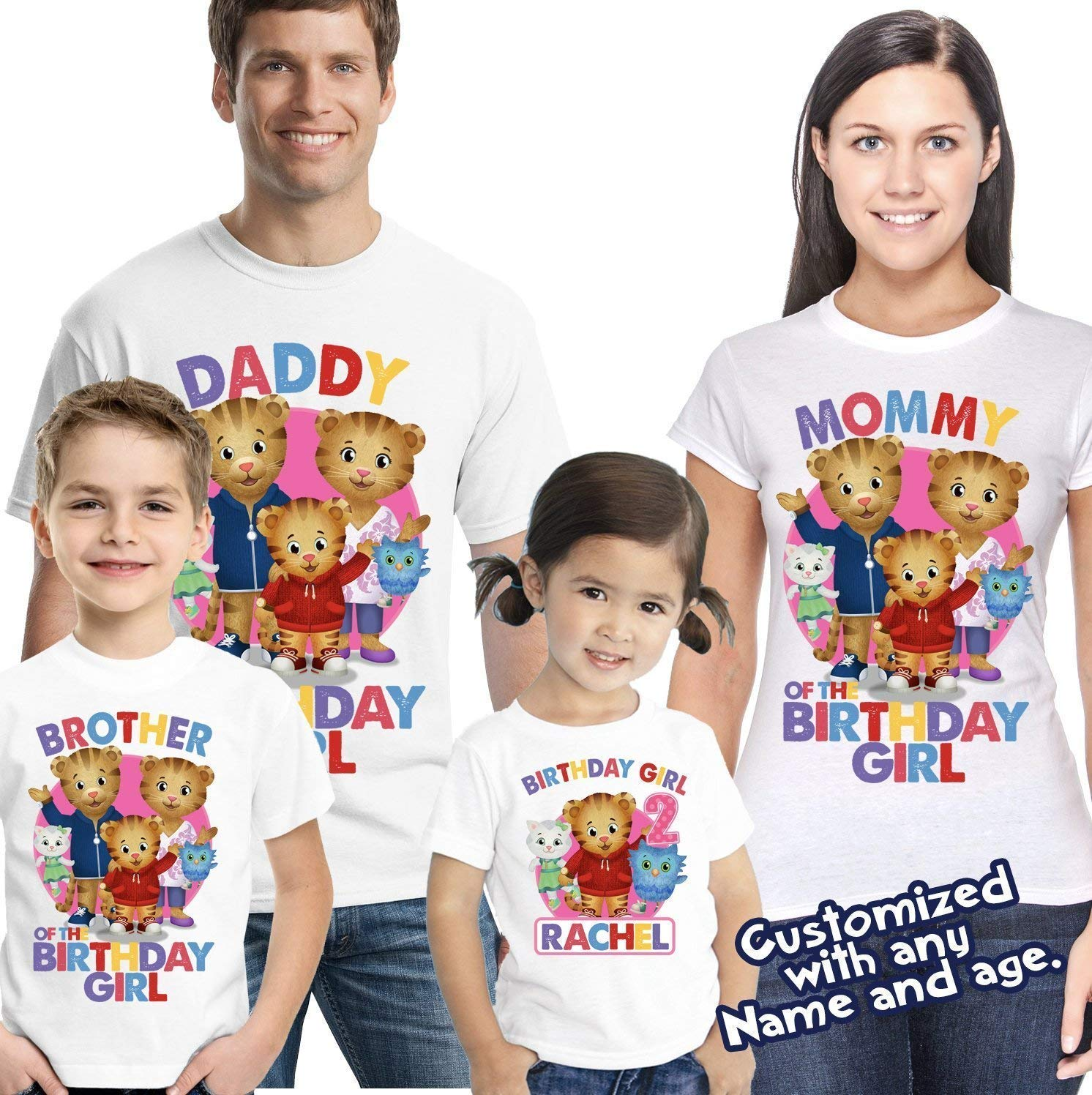 906868bbbae9 Amazon.com  Daniel tiger birthday girl shirt