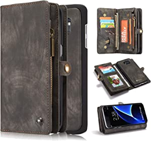 Galaxy S7 Edge Cover, Harsel 11 Card Slot [Magnetic Closure] Detachable Leather Wallet Purse Case with Zipper Pocket Removable Protective Hard PC Case for Galaxy S7 Edge (Black)