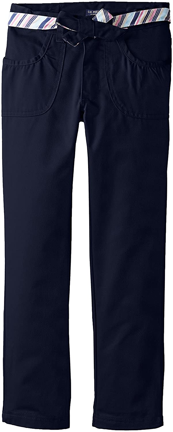 U.S. Polo Assn. Big Girls' Brush Twill Pant with Reversible Belt CZ66
