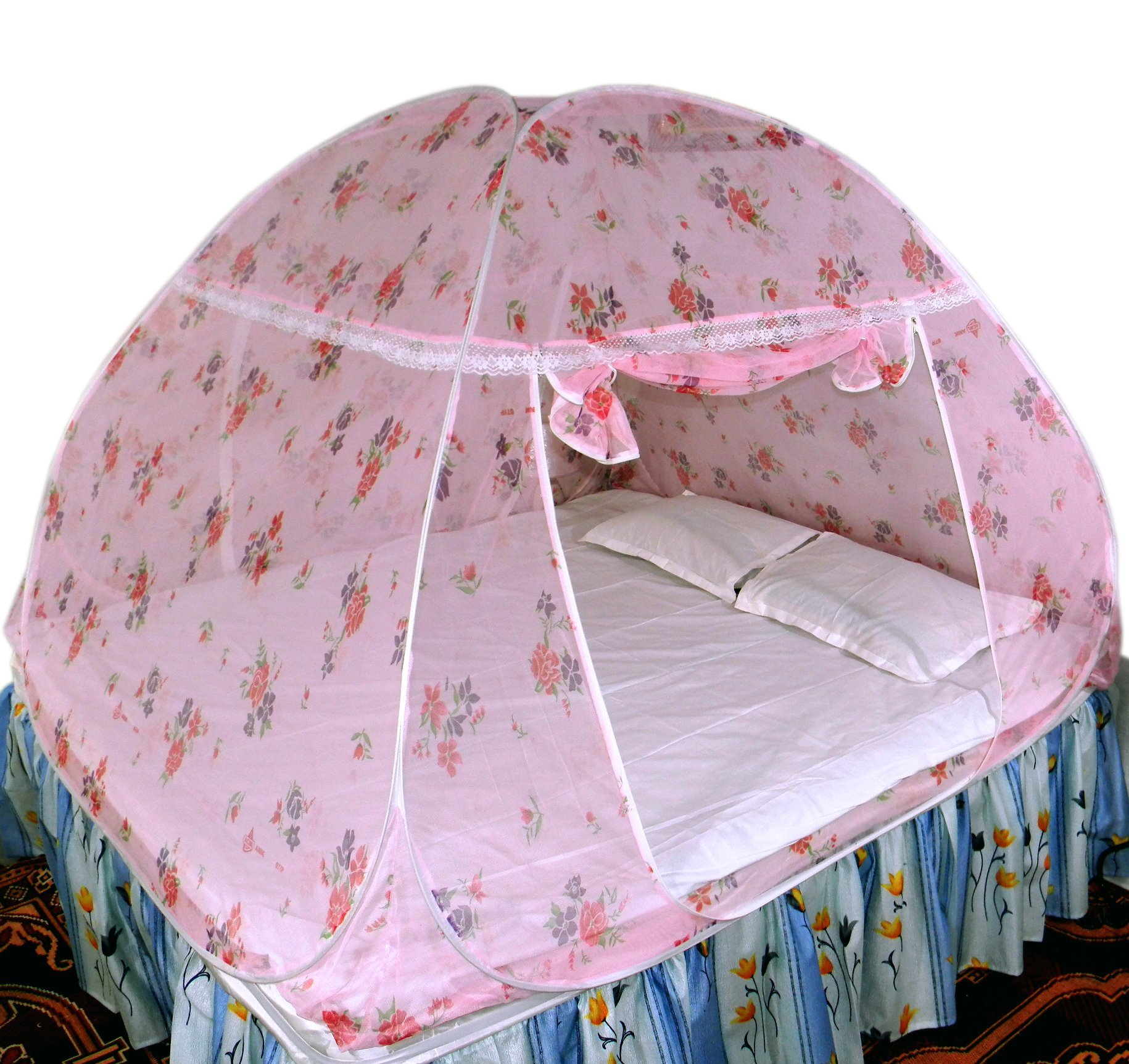 Healthy Sleeping Foldable Polyester Double Bed Mosquito Net (Light Pink) product image