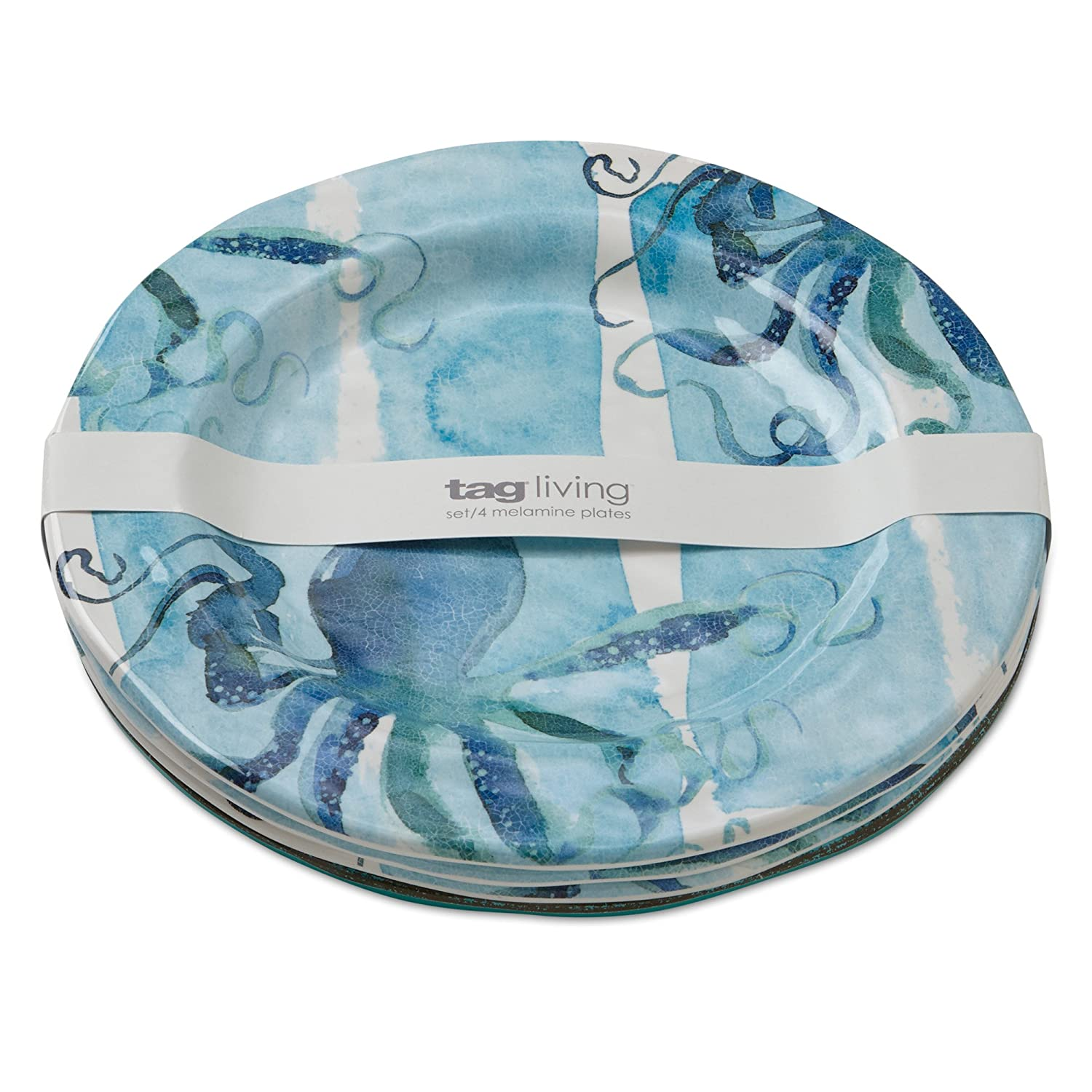 Amazon.com | tag - Octopus Melamine Dinner Plate Durable BPA-Free and Great for Outdoor or Casual Meals Ocean Blue (Set Of 4) Dinner Plates  sc 1 st  Amazon.com & Amazon.com | tag - Octopus Melamine Dinner Plate Durable BPA-Free ...