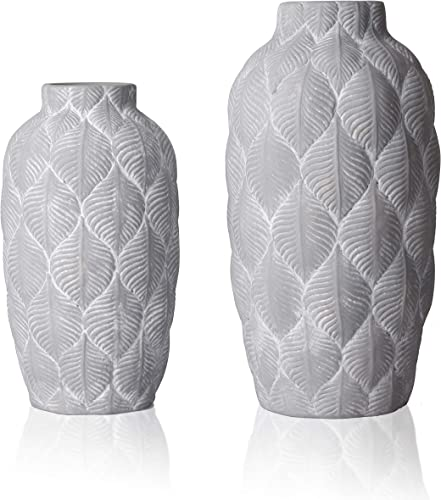 TERESA S COLLECTIONS Rustic Ceramic Flower Vases,Tribal Decorative Farmhouse Vases with Geometric Pattern Set of 2 for Kitchen,Office or Living Room White and Grey
