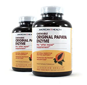 American Health Original Papaya Enzyme Chewable Tablets, 2 Pack - Promotes Nutrient Absorption and Helps Digestion - Gluten-Free, Vegetarian - 600 Count, 400 Total Servings