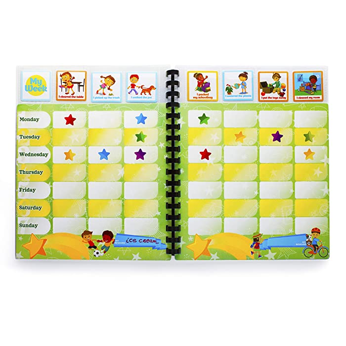Chore Reward Chart System for Kids. Full Year Journal of Weekly Responsibility Charts and Stickers!