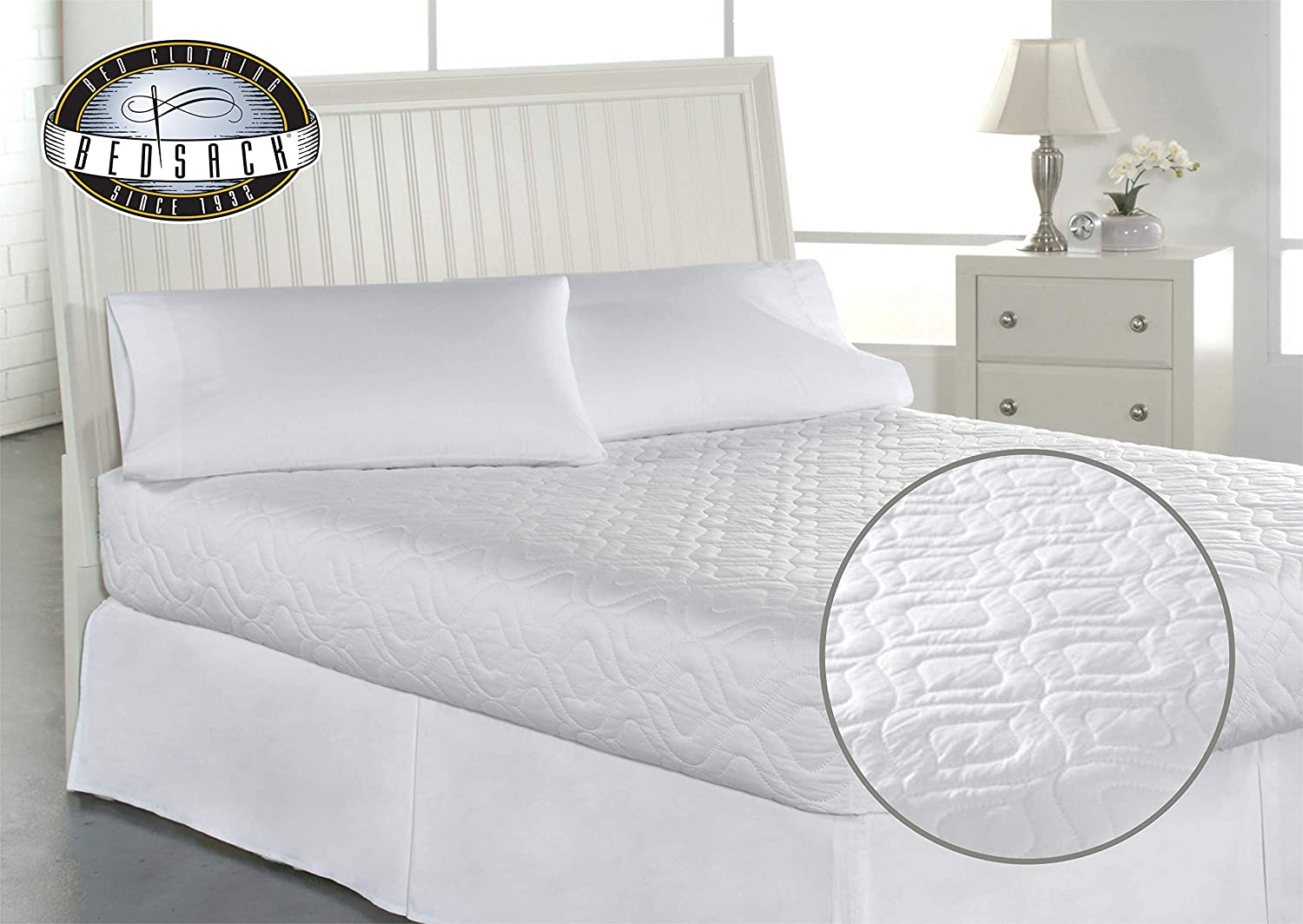 Bedsack by Perfect Fit | Classic Quilted Mattress Pad, Hypoallergenic & Stain Resistant (Twin) 680536