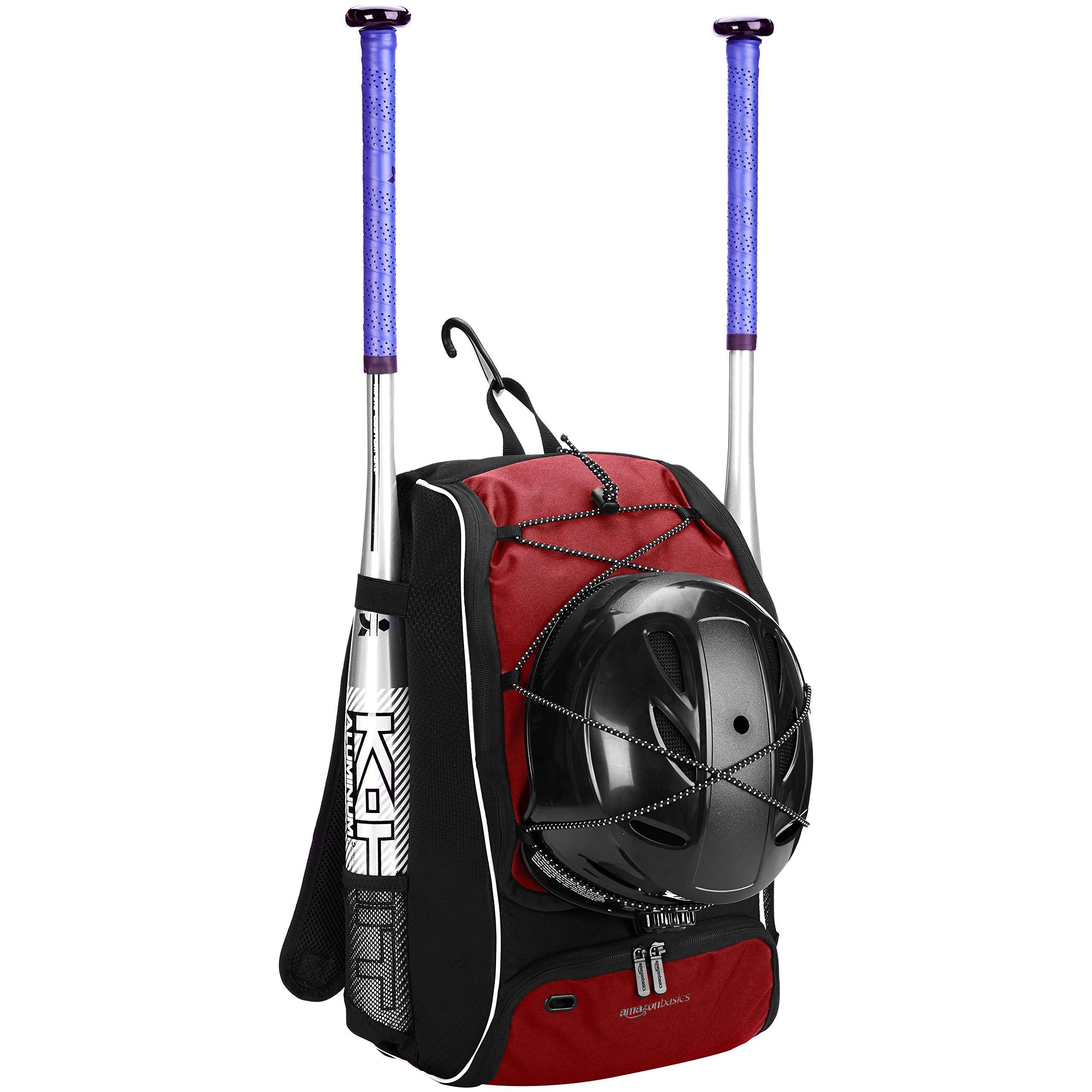 AmazonBasics Youth Baseball Equipment Backpack, Red