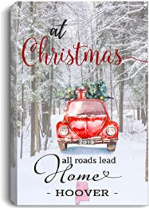 "Christmas Canvas Wall Art 16""x24"" for Home Decor Hoover Alabama AL State - at Christmas All Roads Lead Home with Merry Christmas Red Truck and Snow Decorated Tree"