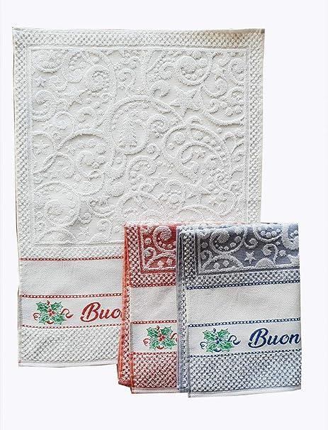 M&O Andrea Paños secador de Platos navideños Variante Feliz Navidad Juego de Tres Piezas 100%