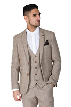 d47e60591a0b Marc Darcy Mens Cream Tweed Jacket Blazer for Weddings and Parties Formal  Slim 36R: Amazon.co.uk: Clothing