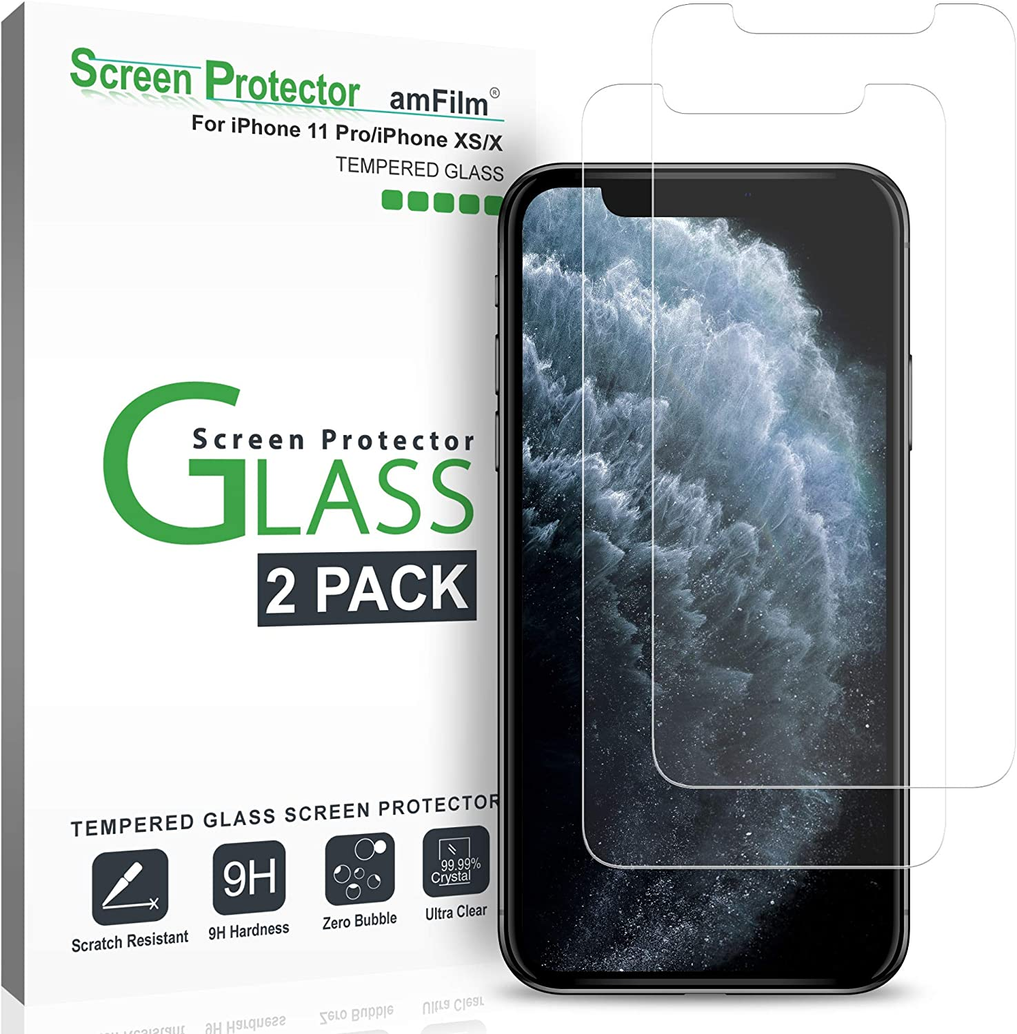amFilm Glass Screen Protector for iPhone 11 Pro, XS, X (2 Pack) Tempered Glass