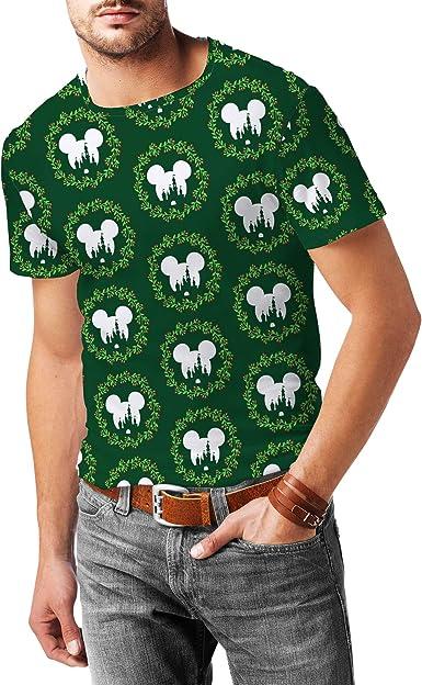 Disney Castle Christmas Wreath Mens Sport Mesh T-Shirt