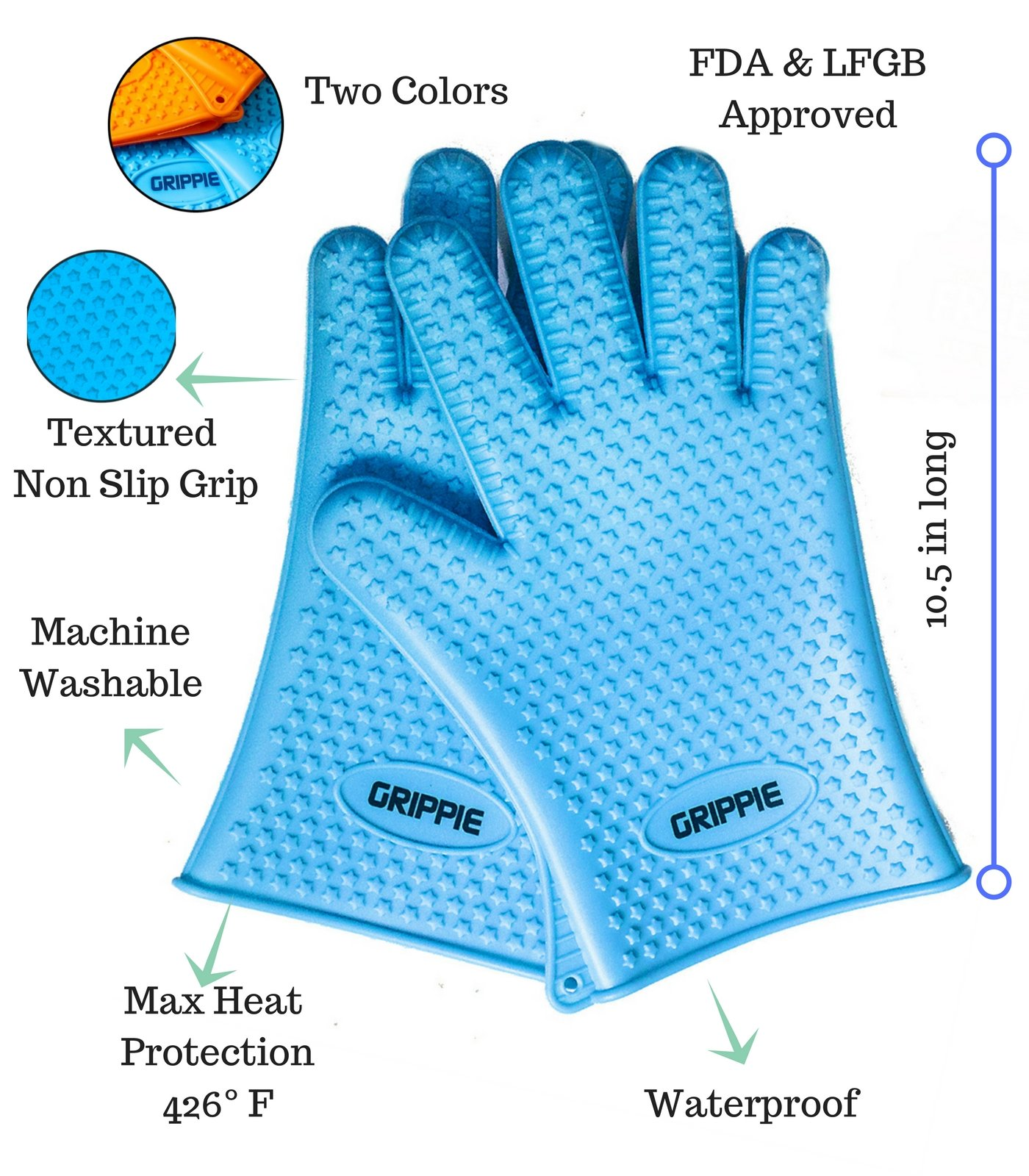 BBQ, Grilling & Oven Silicone Heat Resistant Cooking Gloves With FREE TONGS & BASTING BRUSH By Grippie–Premium Quality-Maximum Protection & Comfort–Lightweight & Dishwasher Safe–Blue & Orange