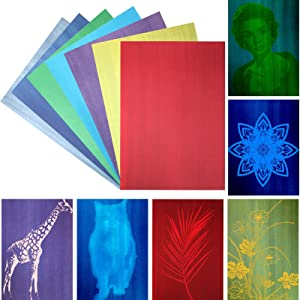 25 Sheets A4 Cyanotype Paper Sunprint Paper Nature Printing Paper Solar Activated Print Paper for Sun Art, 7 Colors