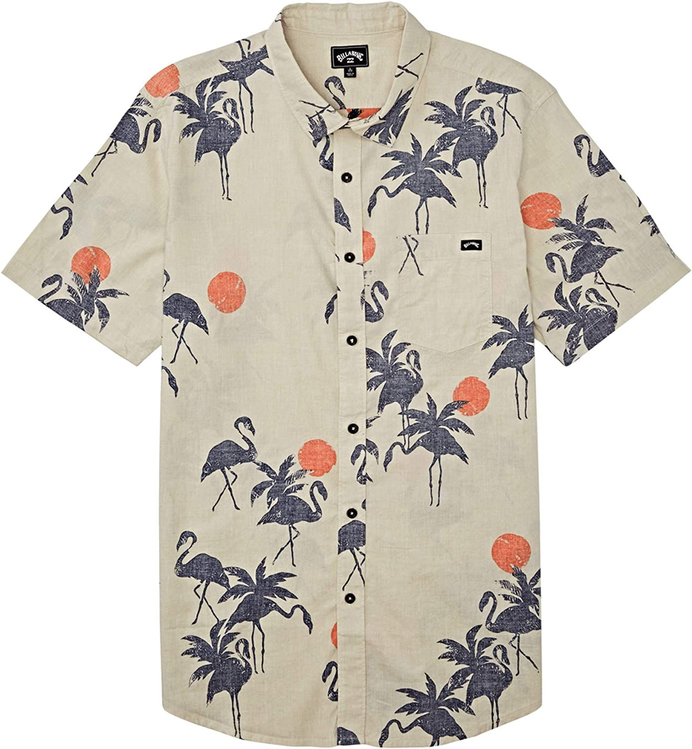 Billabong Men's Sundays Woven Floral and Small Scale Printed Pattern Short Sleeve Shirt: Clothing