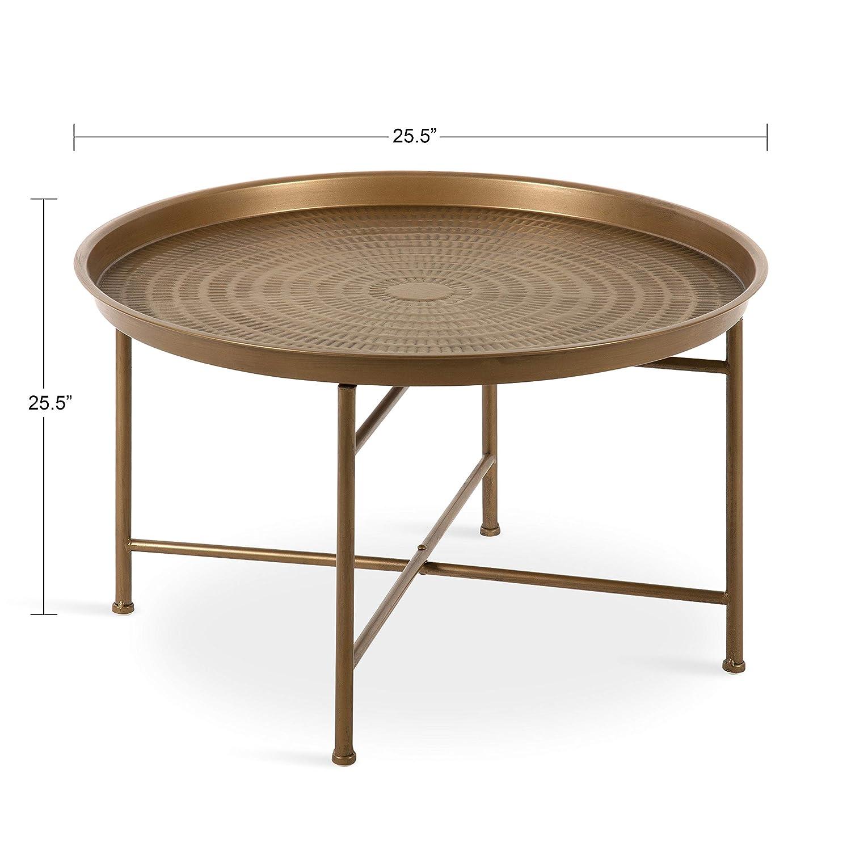 Amazon.com: Kate And Laurel Mahdavi Boho Chic Hammered Metal Tray Coffee  Table, Dark Gold: Kitchen U0026 Dining
