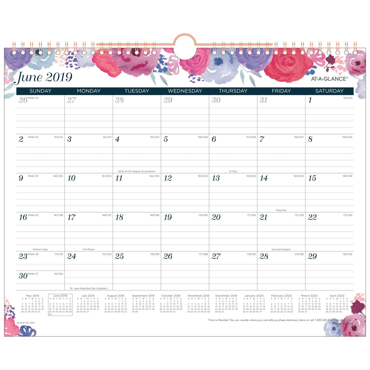 AT-A-GLANCE 2018-2019 Academic Year Wall Calendar, Medium, 14-7/8 x 11-7/8, Wirebound, Midnight Rose (W1101-707A)