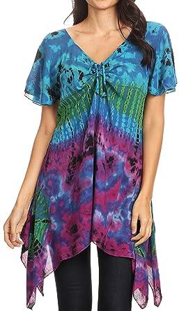 Dye Daniela Short Sleeves Top Tunika Bluse Sakkas Lose Tie Womens fv7gyb6IY