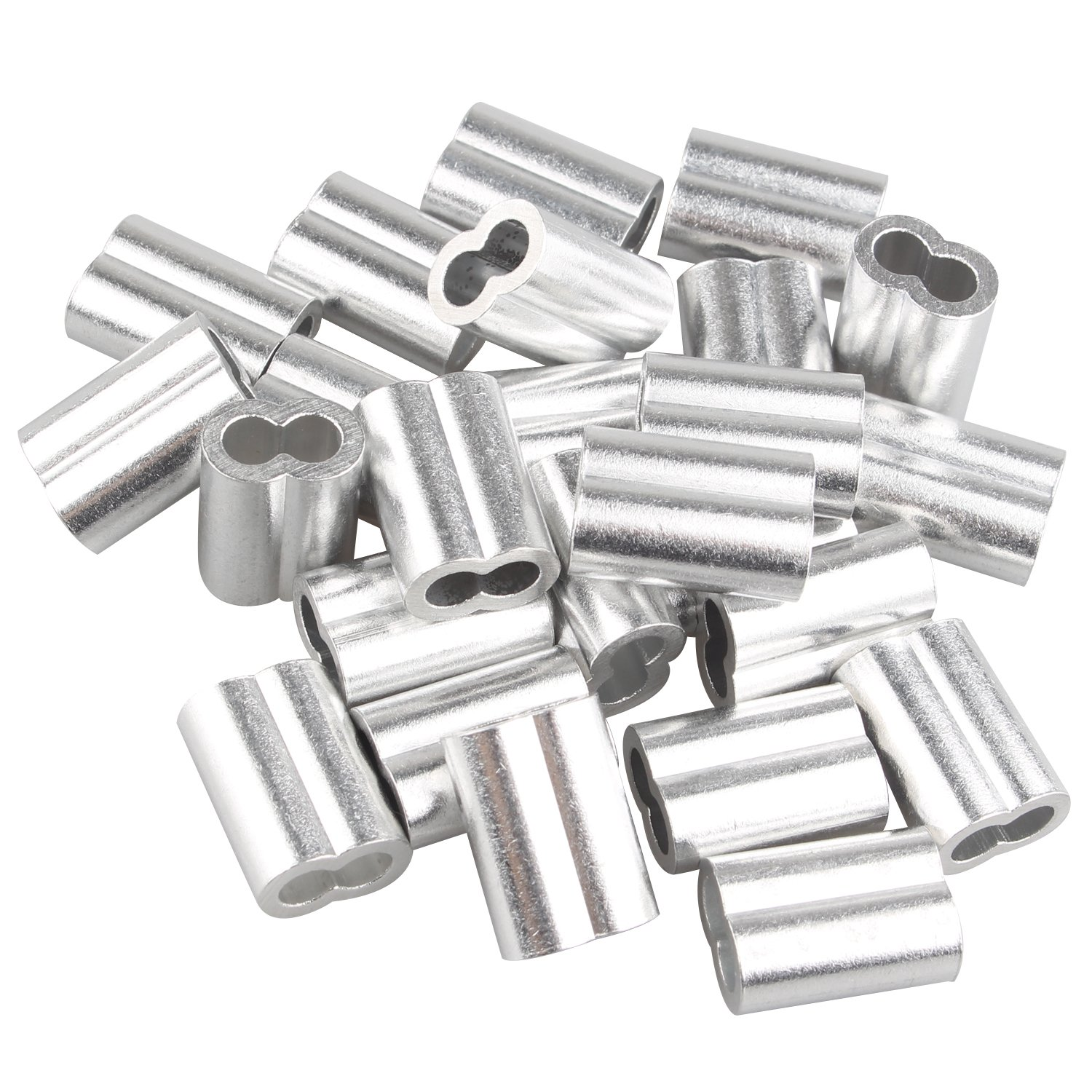 25 pcs Aluminum Crimping Loop Sleeve Clips with Double Ferrules/Holes for 5.0mm Cable Wire Rope Silver Tone Fushengda