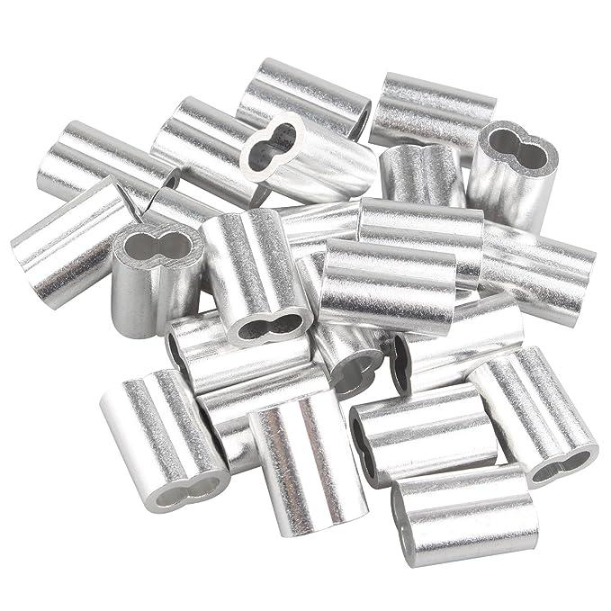 25 piezas clips de 5 mm para sujetar cables de aluminio, color plateado, con agujeros dobles: Amazon.es: Bricolaje y herramientas