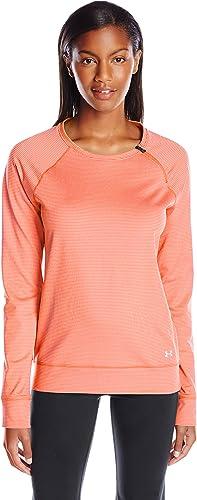 Under Armour de Fitness para mujer T-Shirt protección y ColdGear Loose Crew, otoño/invierno, mujer, color Naranja - Cbo/Msv, tamaño M