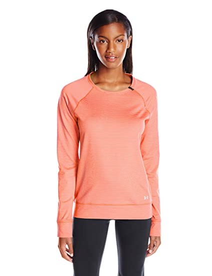 Under Armour Women's ColdGear Cozy Novelty Zip Crew, Cyber Orange  (831)/Metallic