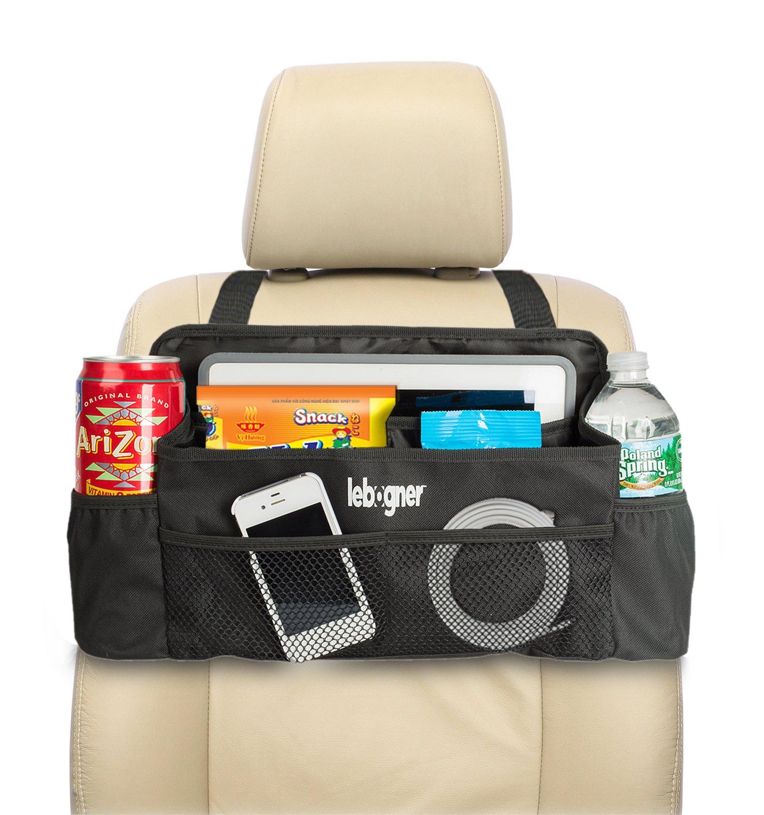 lebogner #1 Luxury CAR Organizer, Perfect Front Seat Organizer, Driver Organizer, Backseat Organizer, Car Seat Organizer for Kids, Black. by lebogner