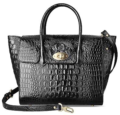 ba82b6e542e0 PIFUREN Fashion Women Handbags Leather Crocodile Purse Top Handle Satchel  Bags (15.75 Inch