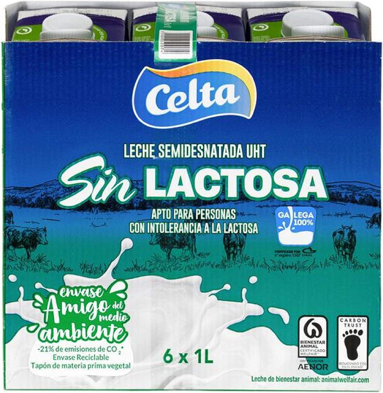 Celta - Leche Semidesanatada Sin Lactosa - Botella 1 L (Pack 6): Amazon.es: Alimentación y bebidas